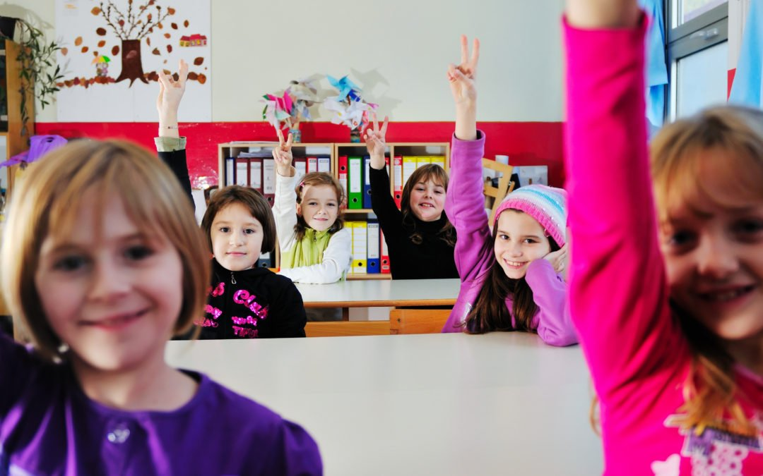 Children in class with hands up