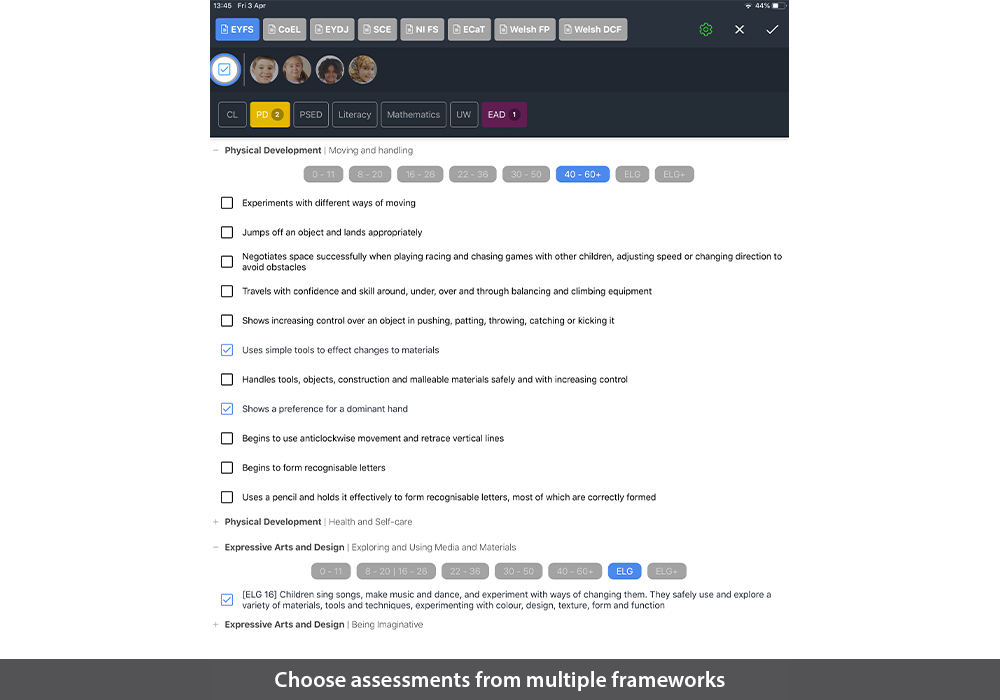 Choose assessments from multiple frameworks