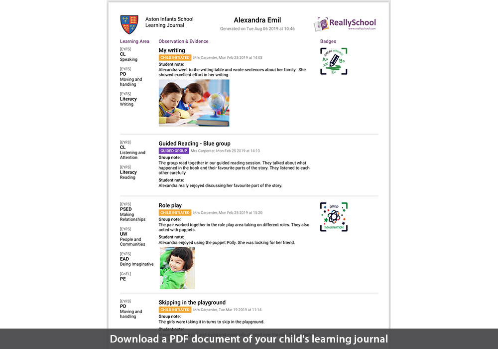 Download a PDf document of your child's learning journal