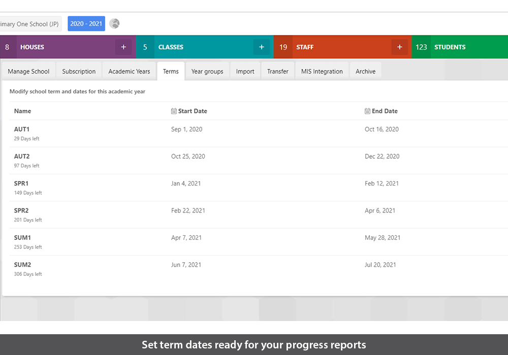 Set term dates ready for your progress reports