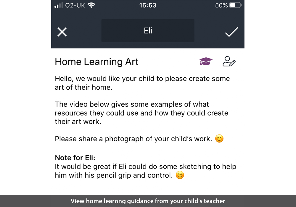 View home learnng guidance from your child's teacher