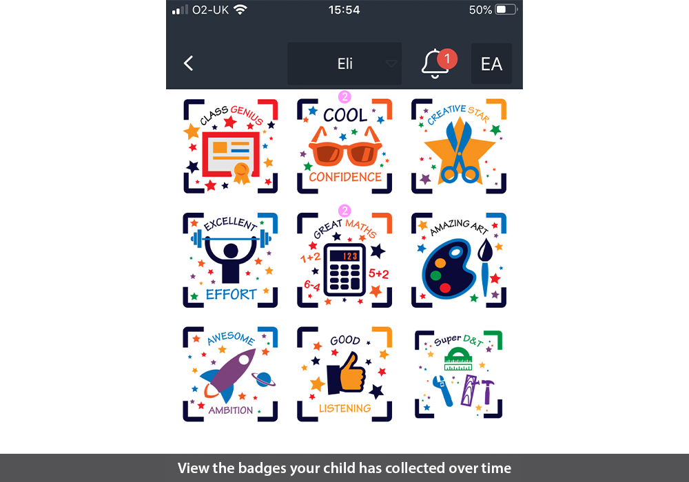 View the badges your child has collected over time