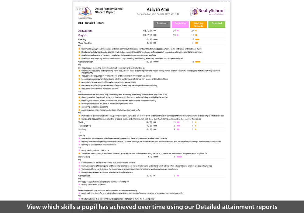 View which skills a pupil has achieved over time using our Detailed attainment reports