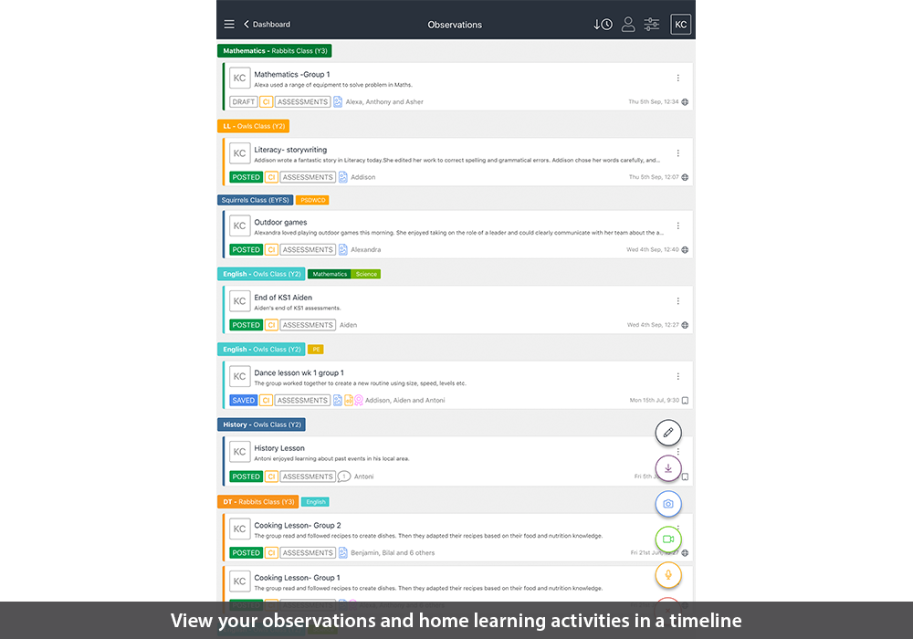 View your observations and home learning activities in a timeline